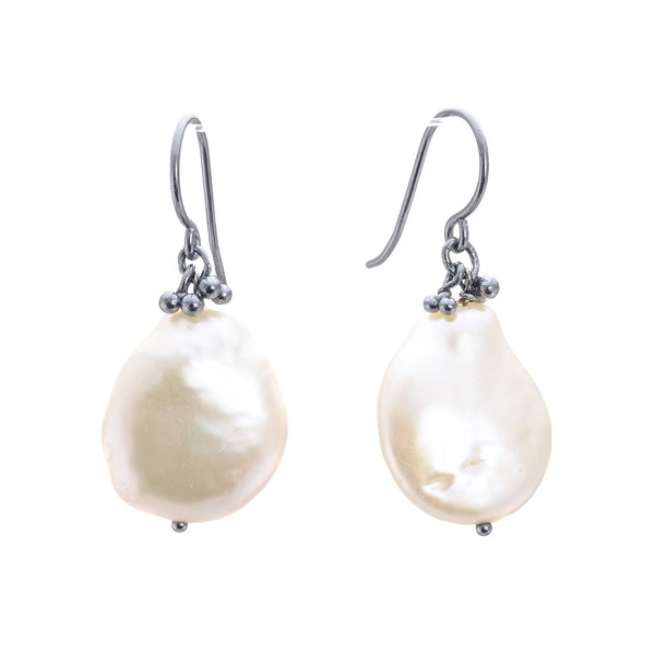 NEW! Tiny Caviar Granules and Baroque Pearl Earrings by Magally Lopez