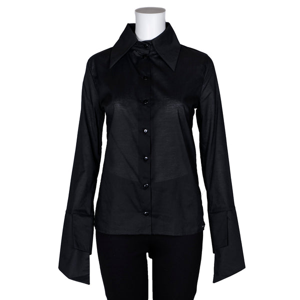 SALE! Black Collared Button Down Blouse by Karaka