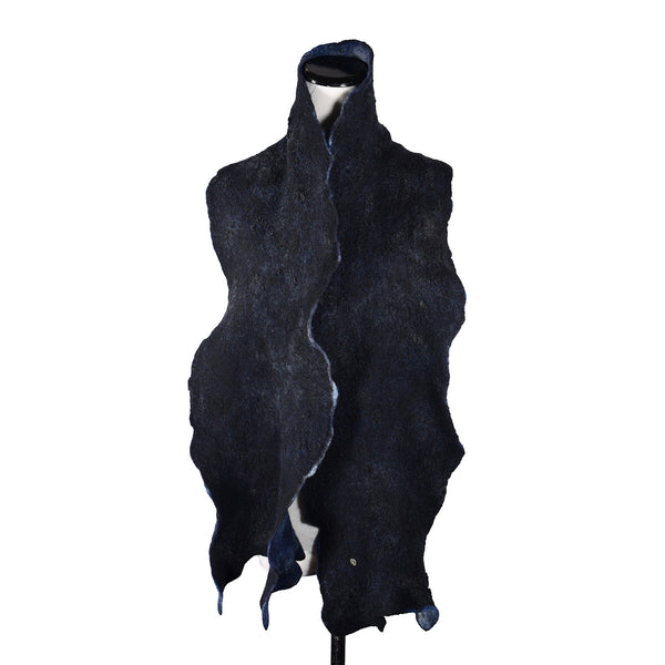 Skinny Man Silk Scarf in Blue Black by Gina Pannorfi