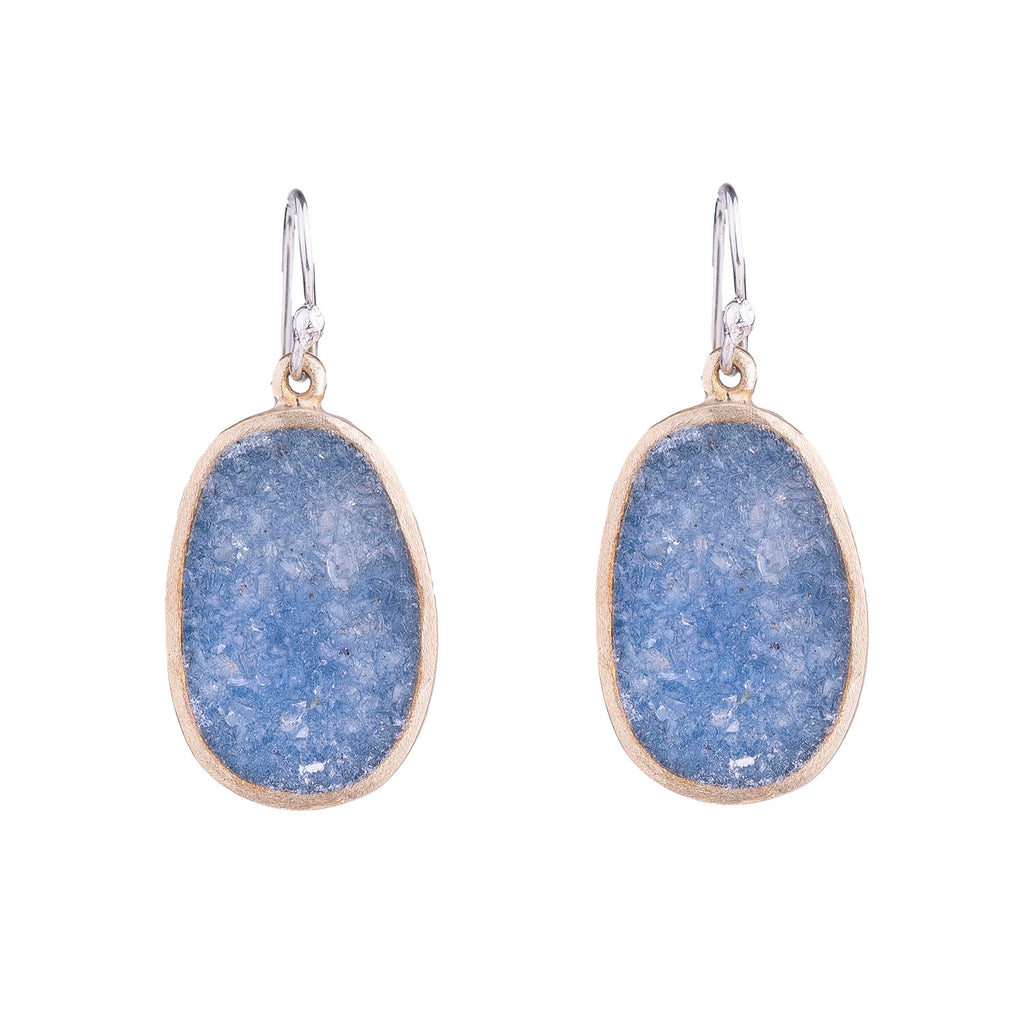 NEW! Small Bronze Boulder Earring in Blue Quartz by David Urso