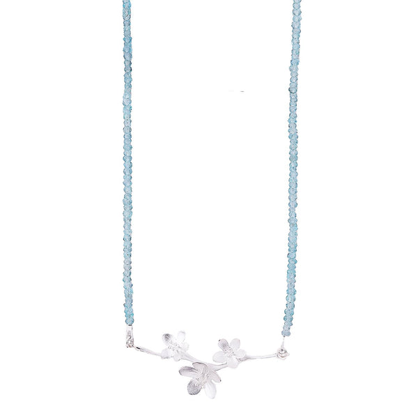 NEW! Apple Blossoms with Aquamarine Necklace by EAM