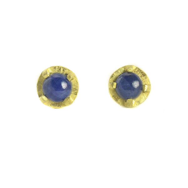 NEW! Carved 4mm Blue Sapphire Earrings by Heather Guidero