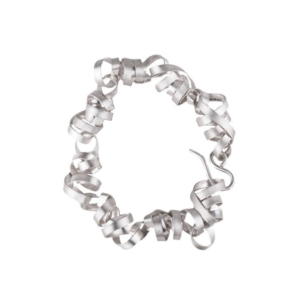 NEW! Small Bright Silver Ribbon Bracelet by Rina Young