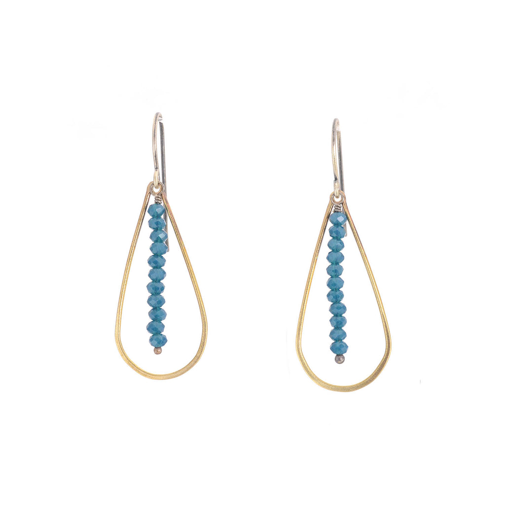 NEW! Blue Denim and Brass Earrings by Eric Silva