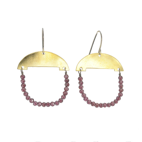 NEW! Garnet and Brass Earrings by Eric Silva
