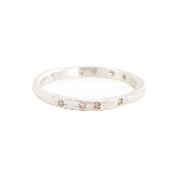 NEW! Sterling Silver Band with 2 beads set Brown Diamonds by Yasuko Azuma