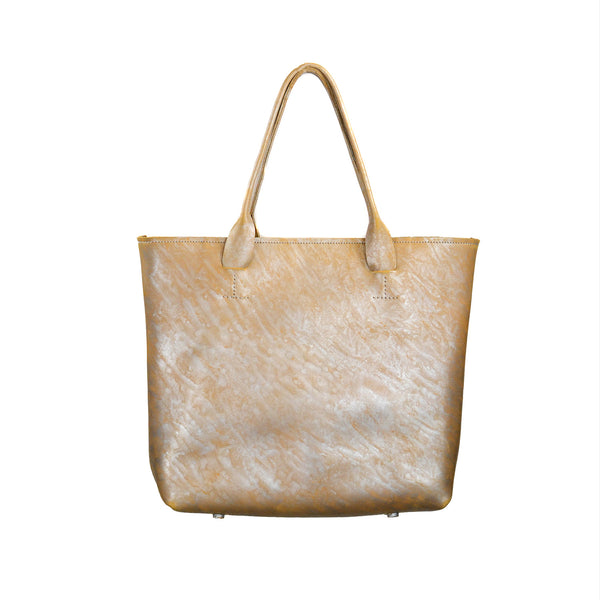 SALE! Large Leather Tote Bag in Silver Camel by Alfred Stadler