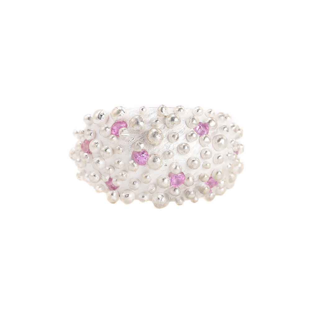 NEW! Bumpy Dome Ring in Sterling Silver with Pink Sapphires by Dahlia Kanner