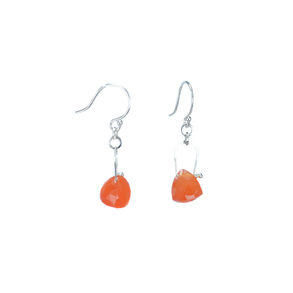 Stirrup Pyramid Carnelian Earrings by Serena Kojimoto