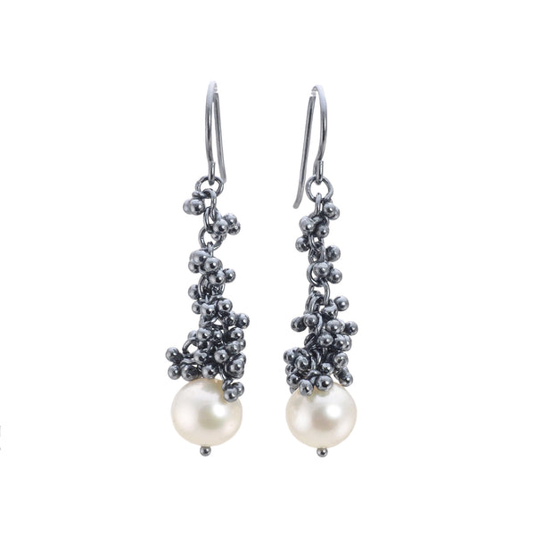 NEW! Caviar Cluster Granulation Pearl Drop Earrings by Magally Lopez