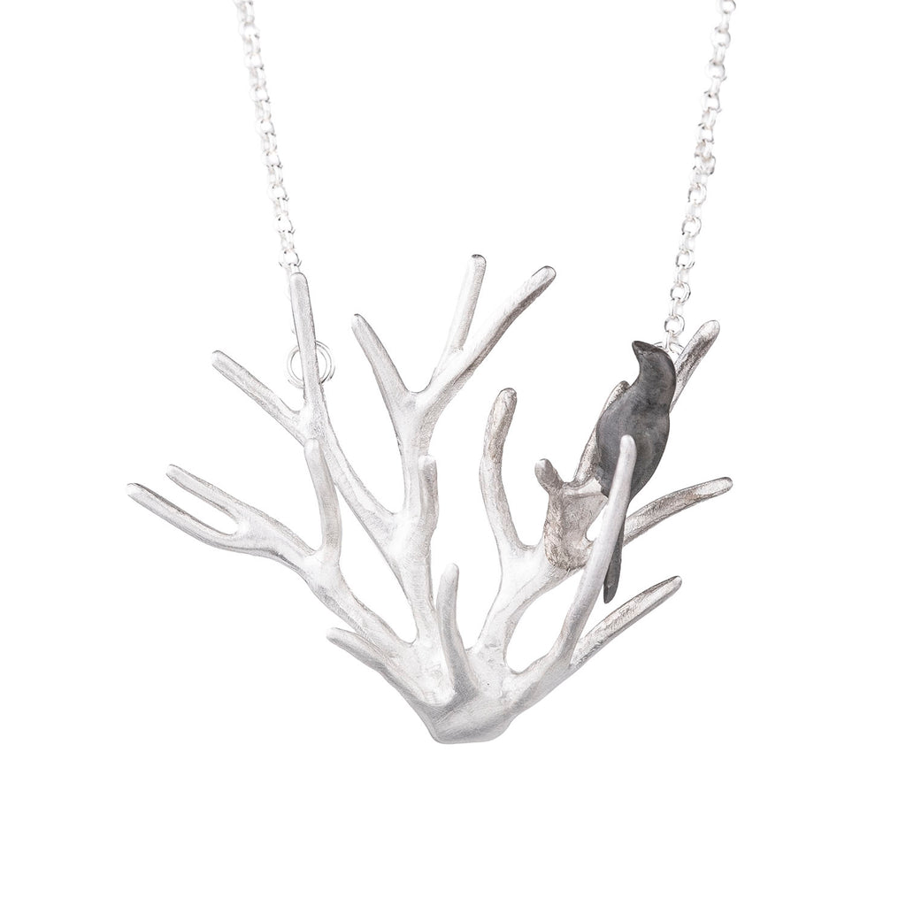 NEW! Large Twig with Bird Necklace by Chee-Me-No