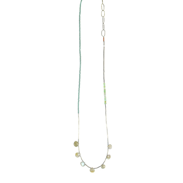 NEW! Labradorite, Chrysoprase and Blue Quartz Necklace by Eric Silva