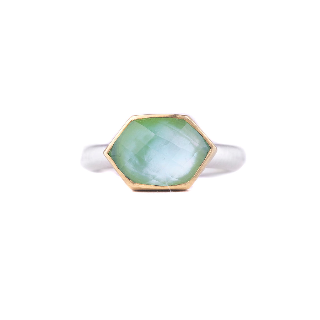 NEW! One of a Kind Rose Cut Hexagon Chrysoprase Ring by Heather Guidero