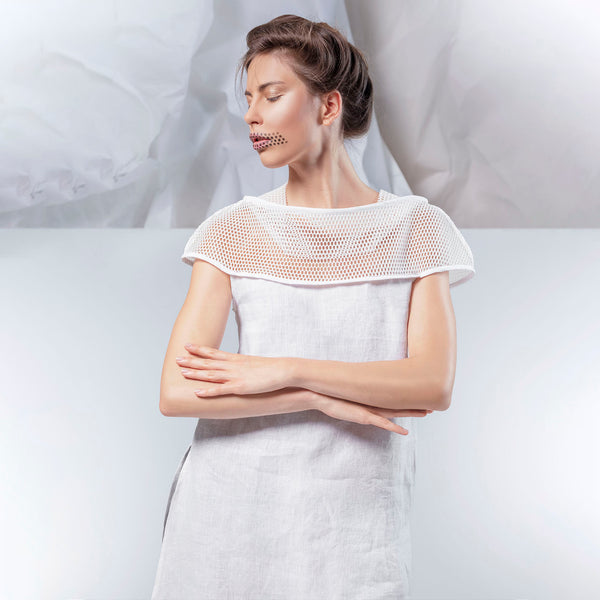 SALE! Linen Tunic by Karaka, model is wearing the white