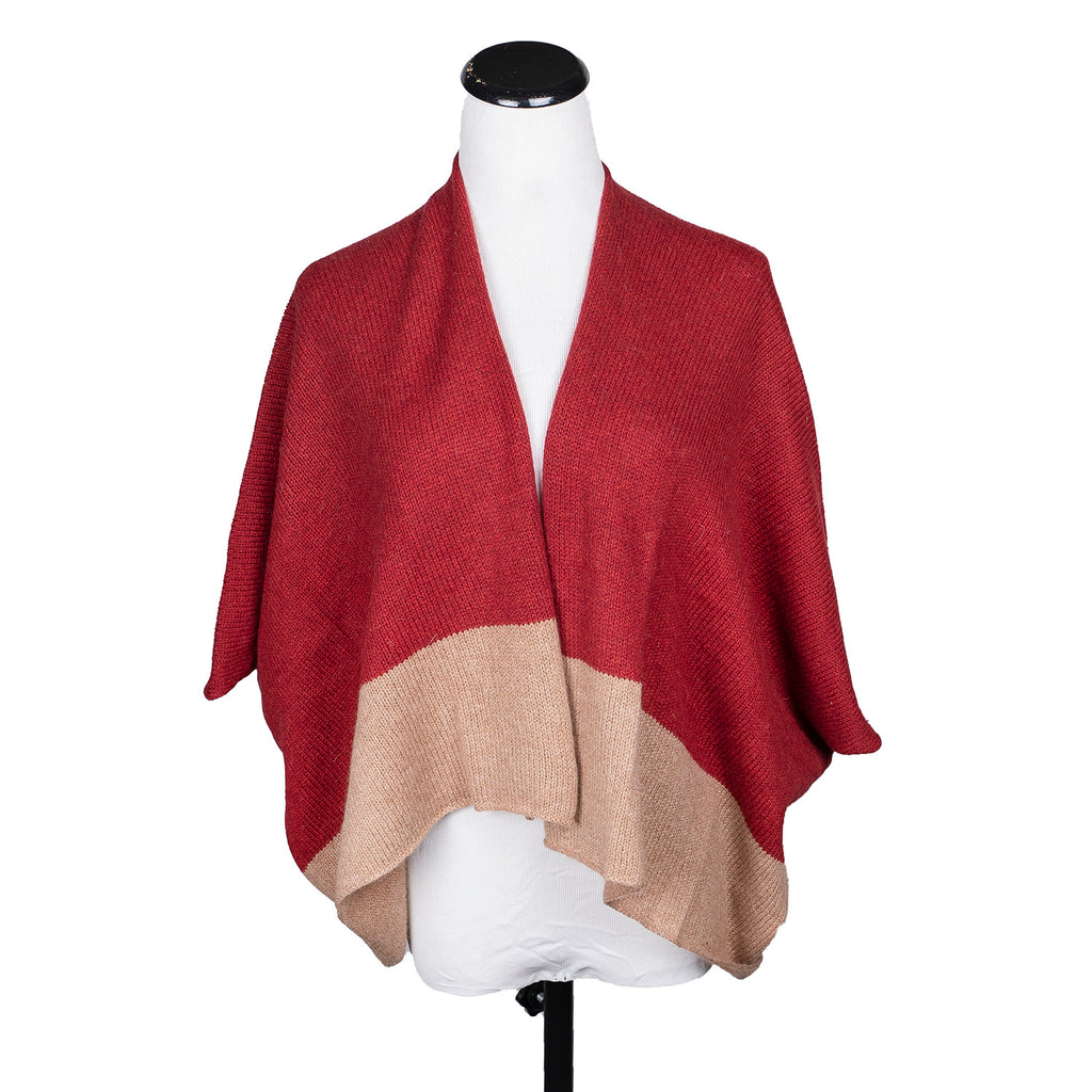 NEW! Shortie Colorblock Poncho in Cranberry/Oatwood by Isobel & Cleo