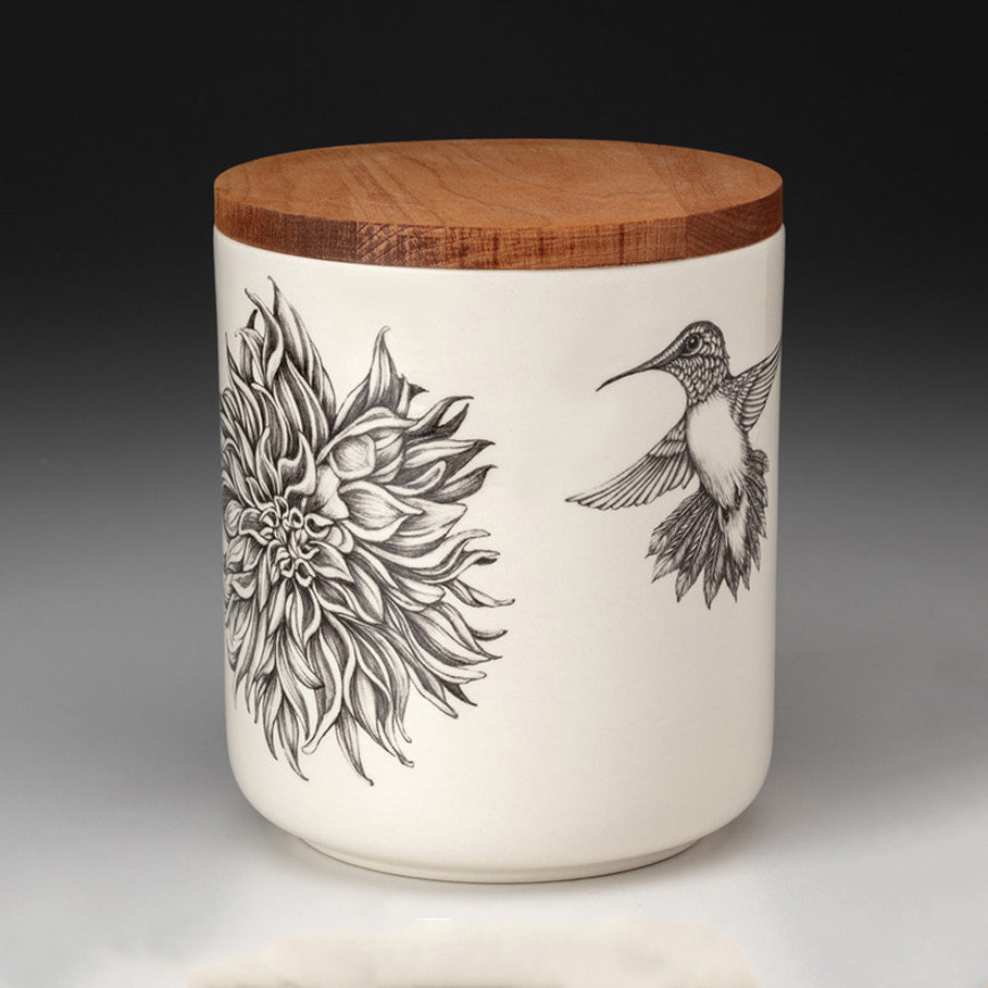 NEW! Dahlia and Hummingbird Small Canister with Lid