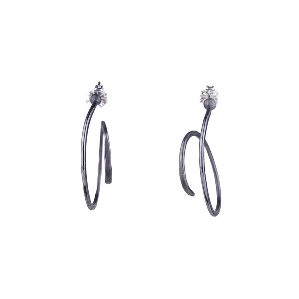 NEW! Small Spring Hoop Earrings in Oxidized Silver by Melle Finelli