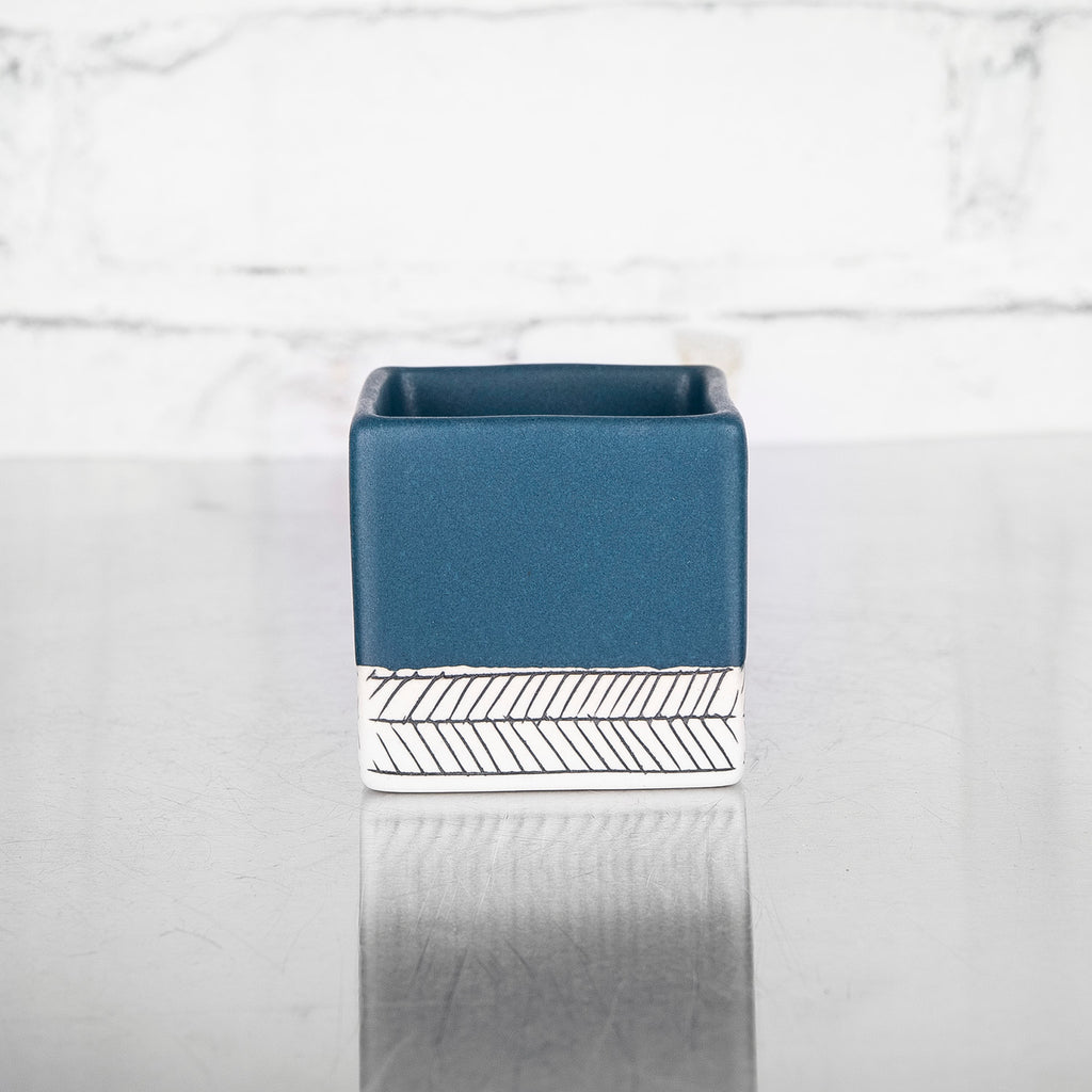 NEW! Medium Square Planter in Deep Ocean by Elizabeth Benotti