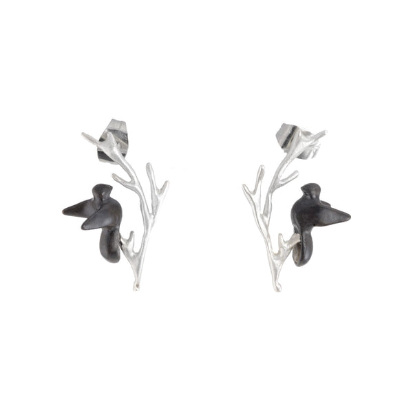NEW! Delicate Twig with Fly Bird Post Earrings by Chee-Me-No
