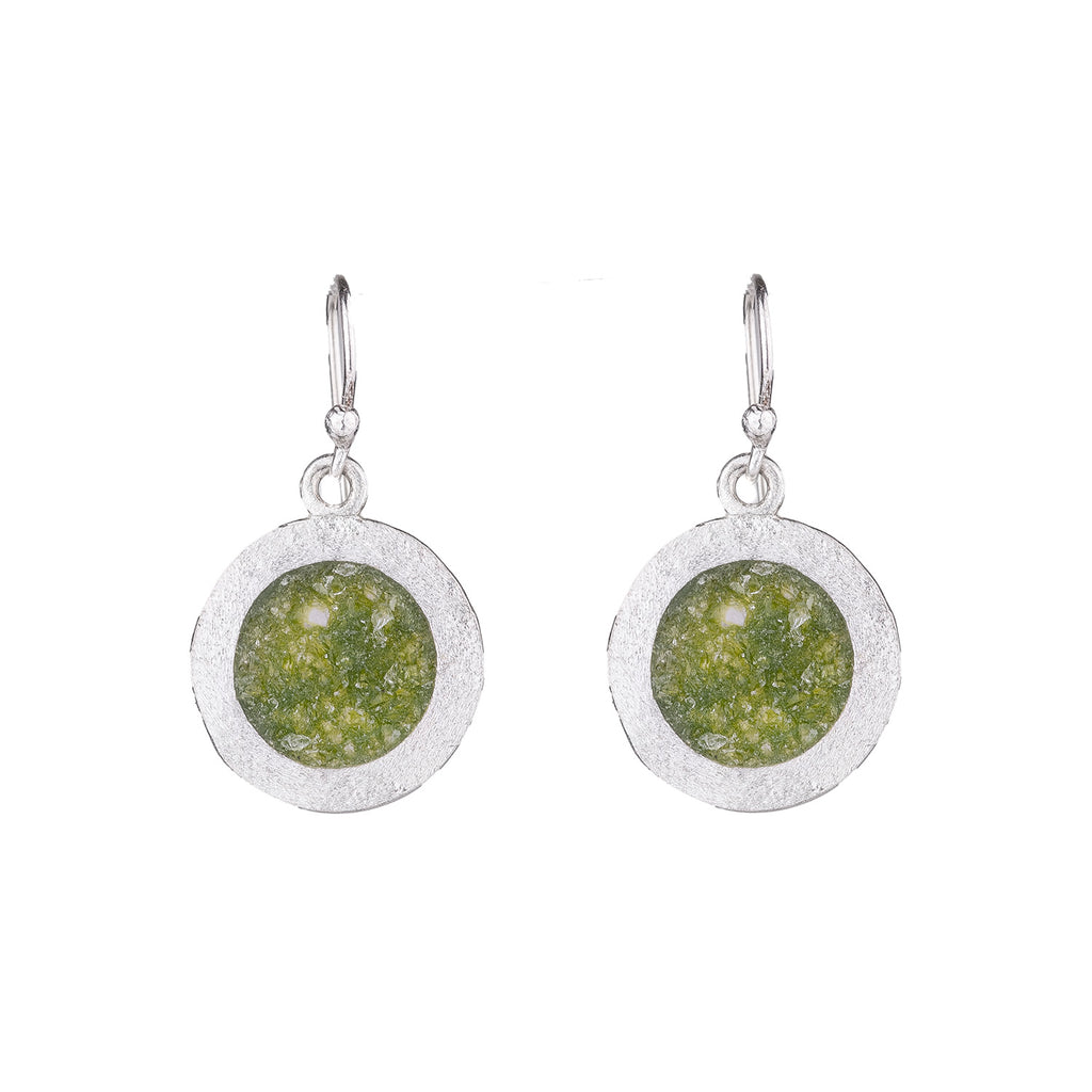 NEW! Sterling Silver Dime Earrings in Green Quartz by David Urso
