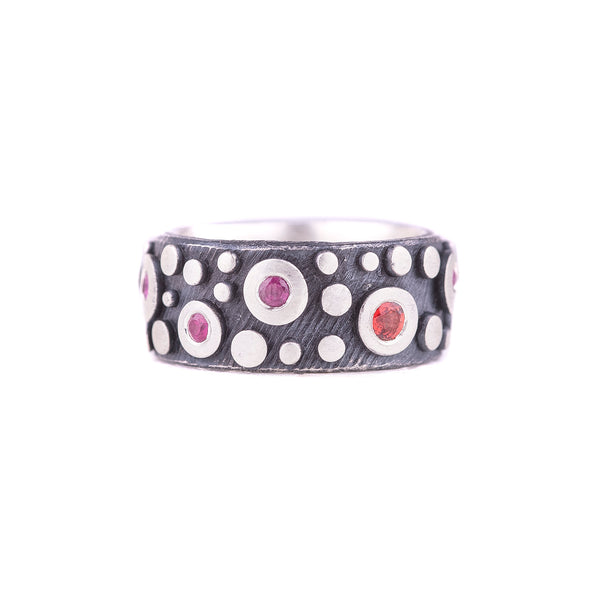 NEW! Oxidized Sterling Silver Disco with Pink Sapphire & Red Rubies Band by Dahlia Kanner