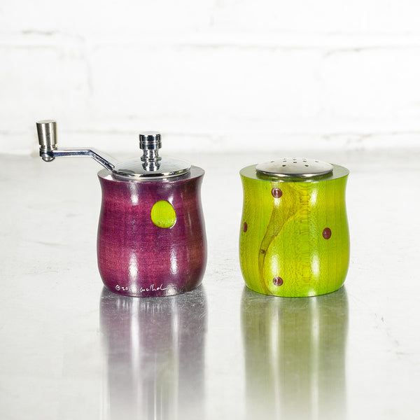 NEW! Purple and Lime Mini Salt & Pepper Set by Raw Design