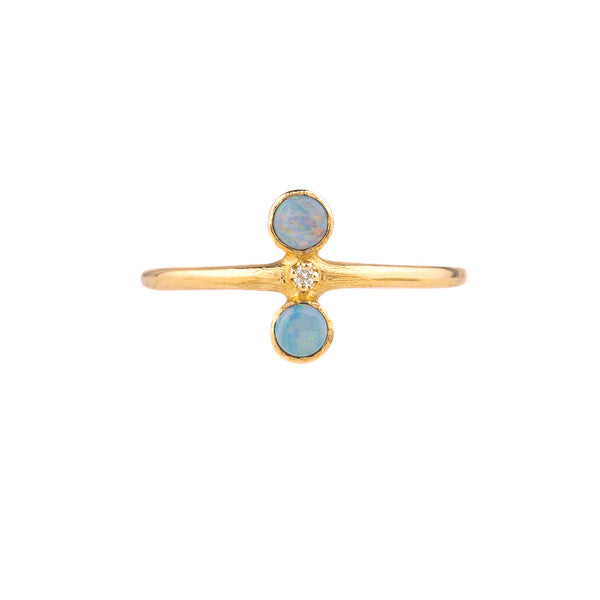 NEW! Double Opal Diamond 14k Gold Ring by N+A