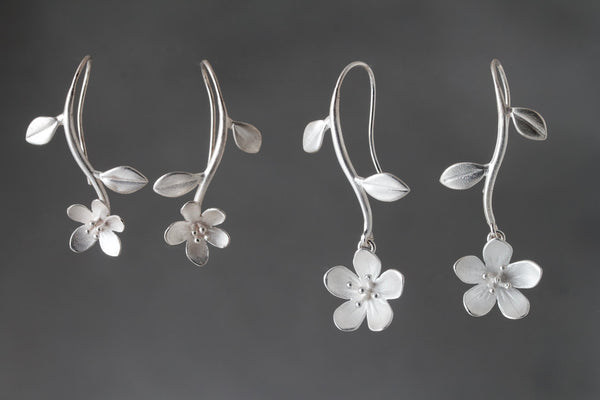 NEW! Silver Small Apple Blossom Flower and Stem Earrings by EAM