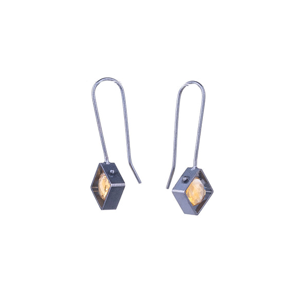 NEW! Diagonal Frame Earrings with Citrine by Ashka Dymel
