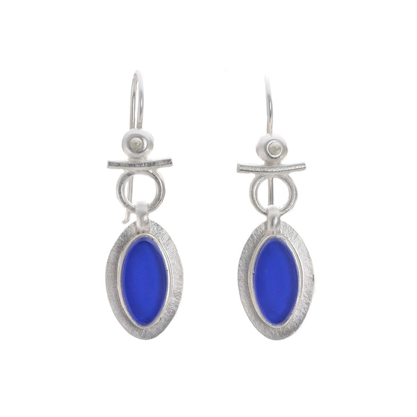 NEW! Egyptian Leaf Earrings in Azure Vintage Cobalt Glass by Amy Faust