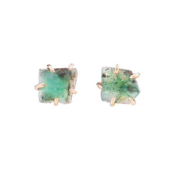 NEW! Small Brazilian Emerald Stone Studs by Variance Objects