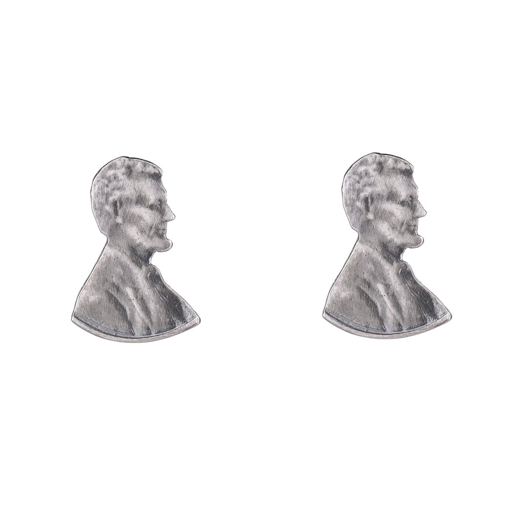NEW! Abe Silver Headshot Studs by Stacey Lee Weber