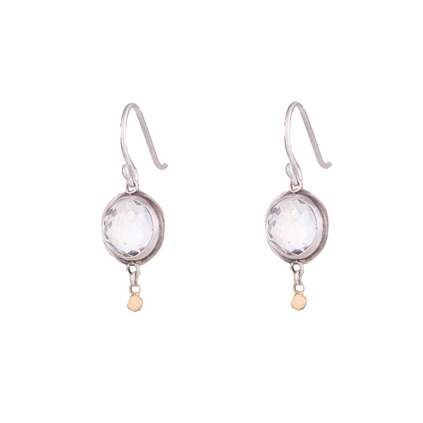 NEW! Rosecut Clear Topaz Drop Earrings by Ananda Khalsa
