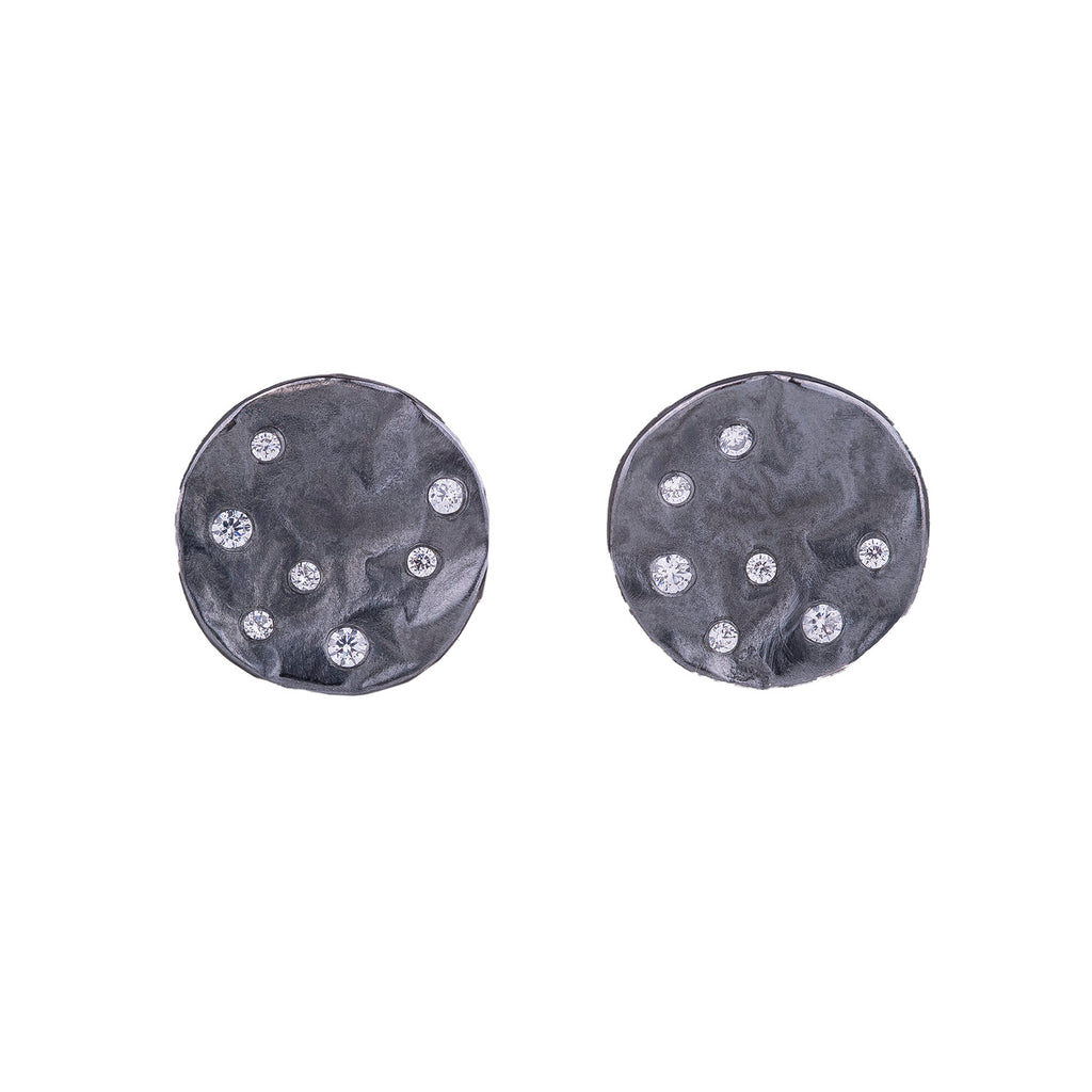 NEW! Reticulated Circle Earrings in Oxidized Silver with Cubic Zirconia by Thea Izzi