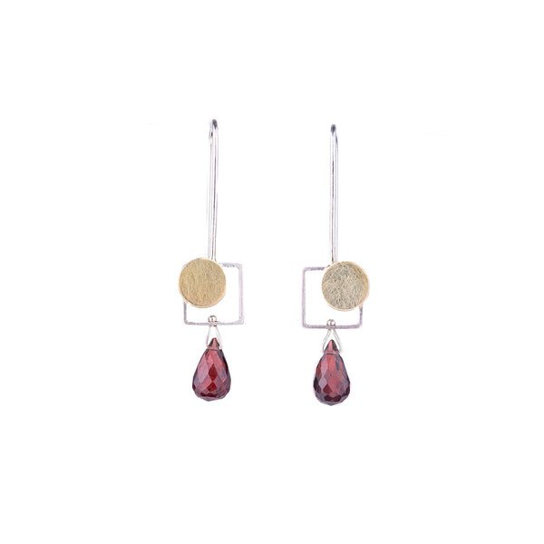NEW! Small Square Earrings with Bimetal Dot and Garnet by Ashka Dymel