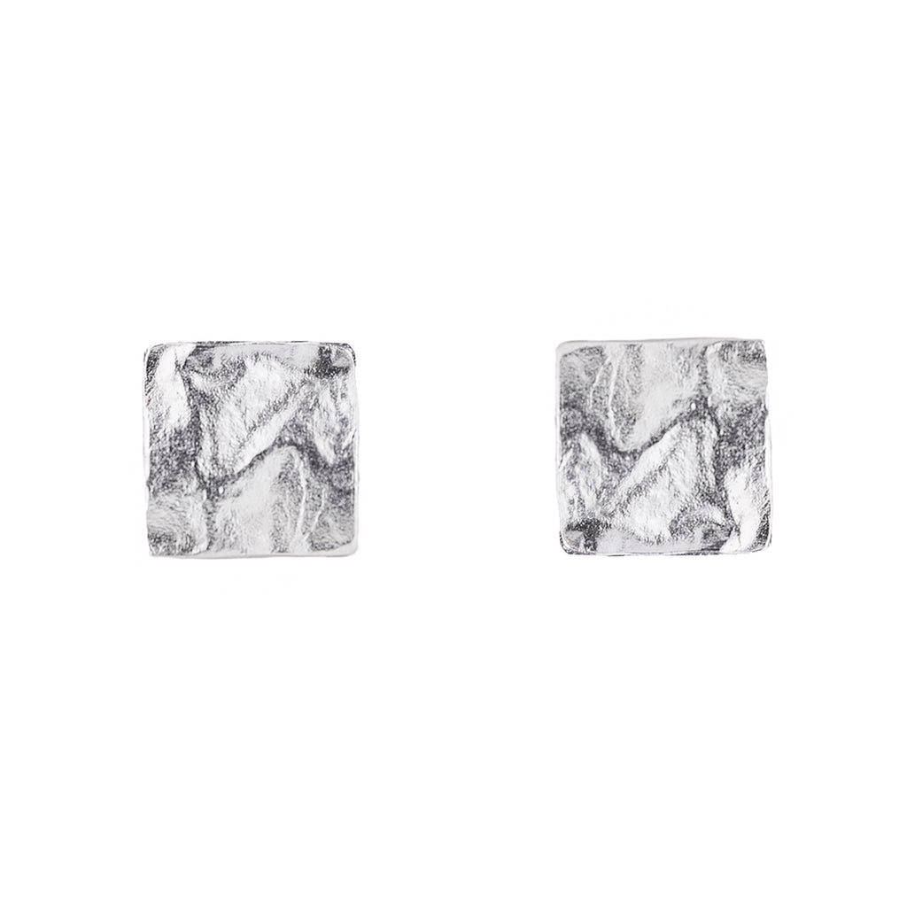 NEW! Small Reticulated Square Earrings in Sterling Silver by Thea Izzi