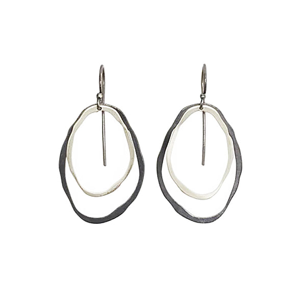 NEW! Tiny 2 Layer Thin RC 2 Tone Earrings by Lisa Crowder