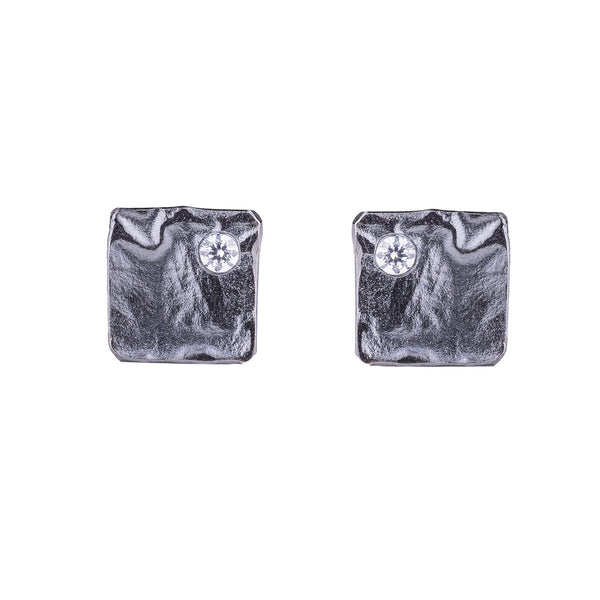 NEW! Reticulated Square Earrings in Oxidized Silver with Cubic Zirconia by Thea Izzi
