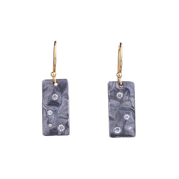 NEW! Reticulated Rectangle Hanging Earrings in Oxidized Silver with Cubic Zirconia by Thea Izzi