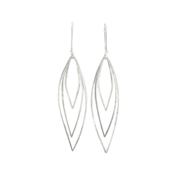 NEW! Triple Leaf Earrings in Bright Silver by Dina Varano