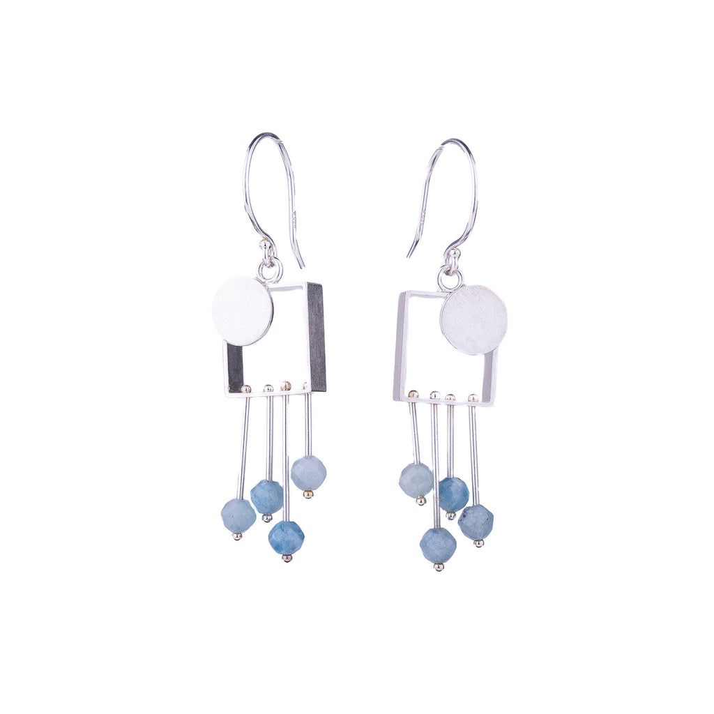 NEW! Small Square Earrings with Silver Dot & Aquamarine Fringe by Ashka Dymel