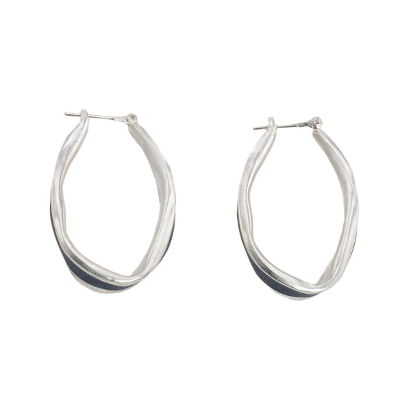 NEW! Small Sterling Silver Oval Hoop in Slate by David Urso