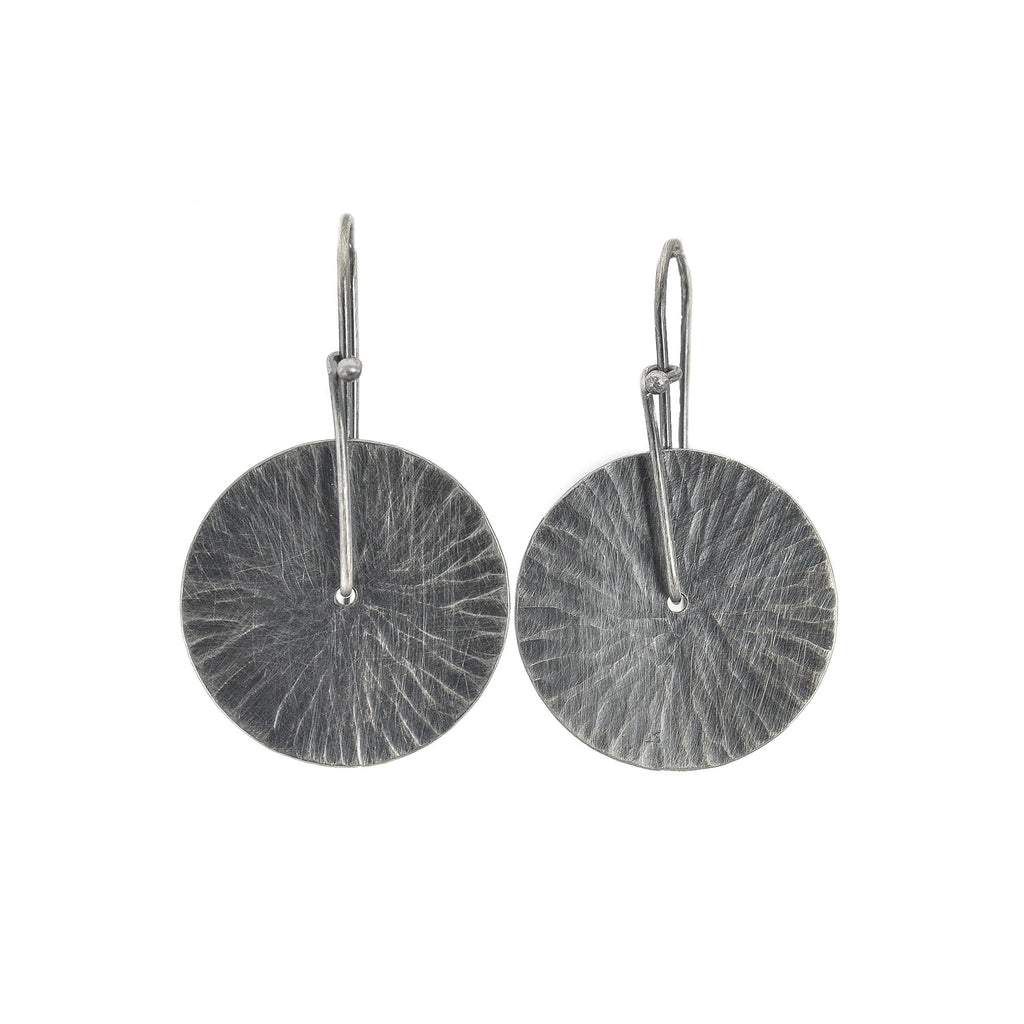 Oxidized Silver Hammered Disc Earrings by Dina Varano