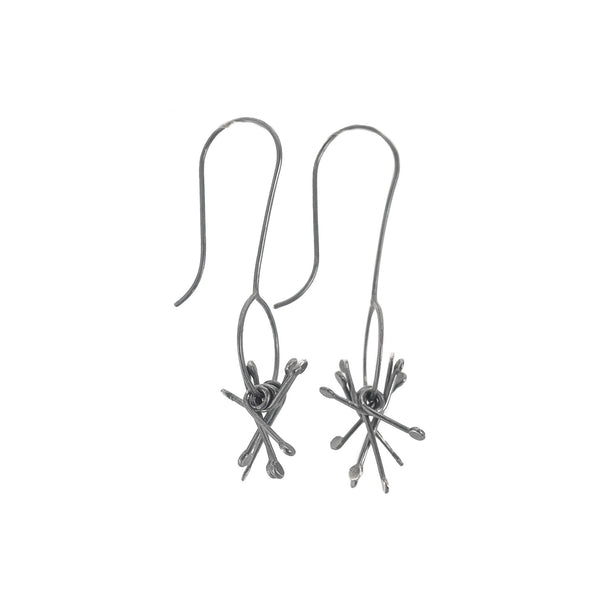 NEW! Long Oxidized Silver O Cluster Earrings by Dina Varano