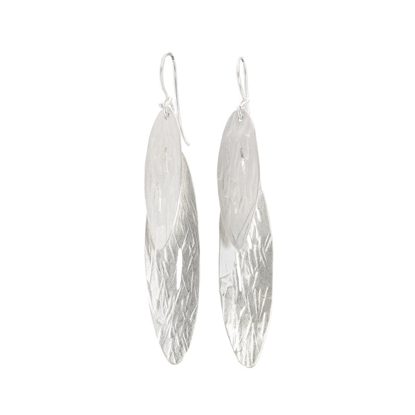 NEW! Hammered Long Leaves Earrings in Bright Silver by Dina Varano