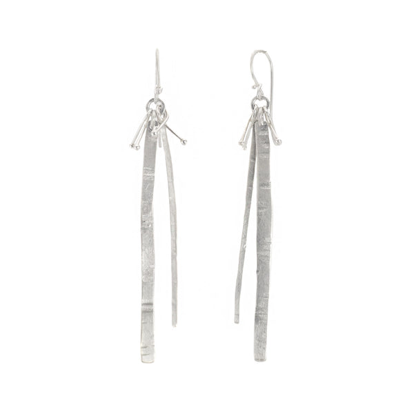 NEW! Hammered Lines and Mist Earrings in Bright Silver by Dina Varano