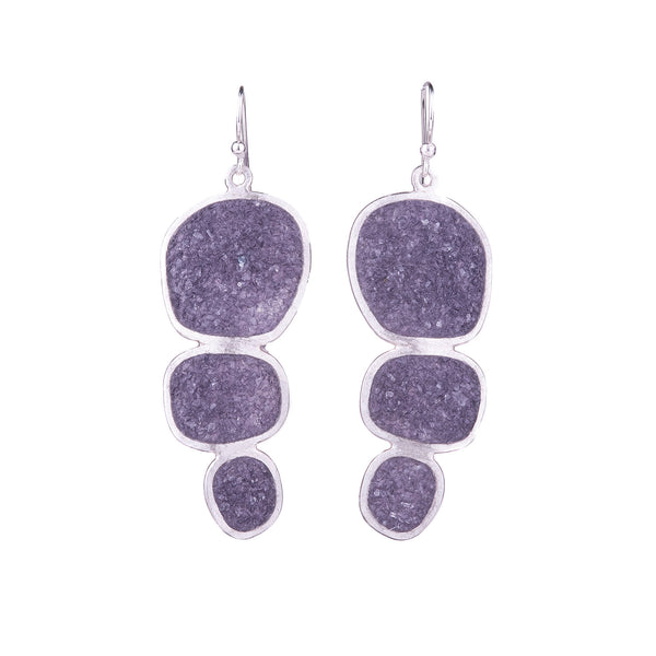NEW! Amethyst Quartz Trio Earrings in Sterling Silver by David Urso