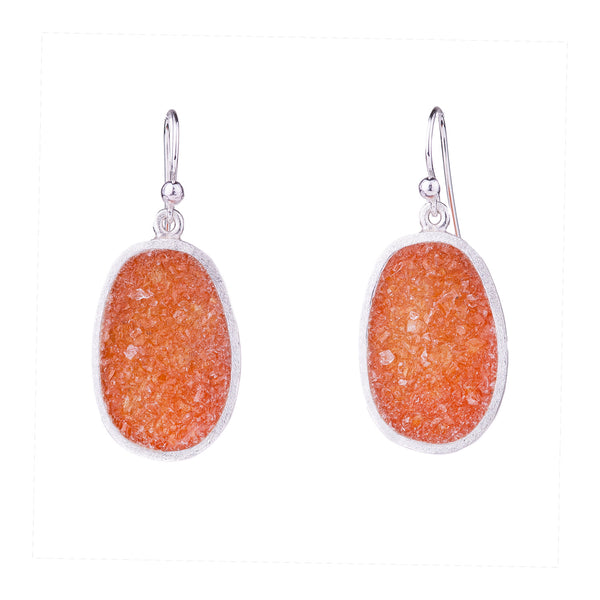 NEW! Small Sterling Silver Boulder Earring in Orange Quartz by David Urso