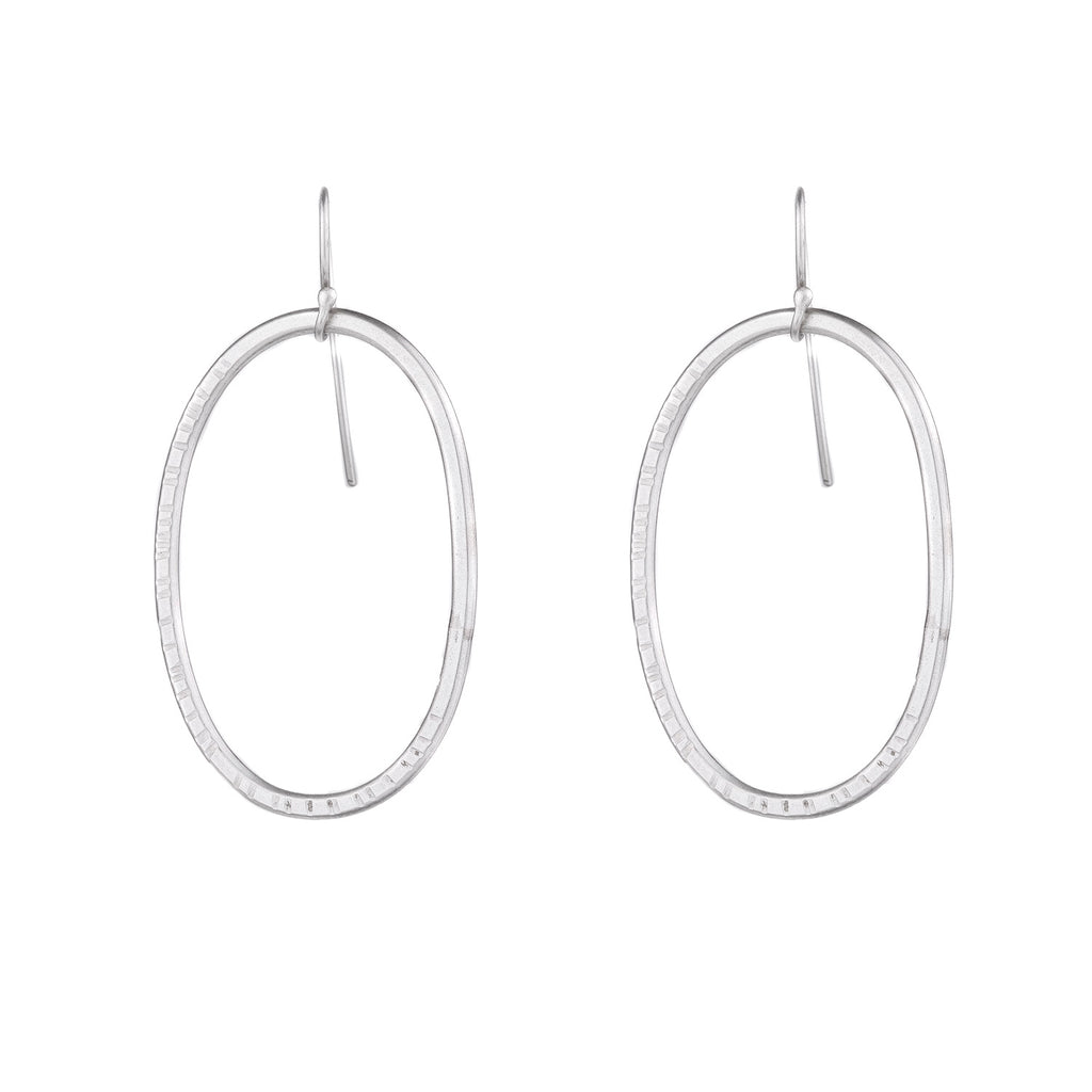 NEW! Oval Hatch Hoops in Sterling Silver by Lisa Crowder