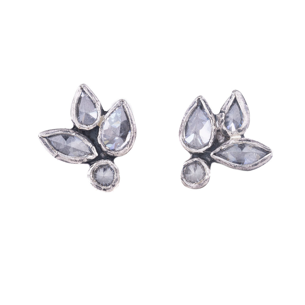 NEW! Sterling Silver Floral Zircon Stud Earrings by Sasha Walsh